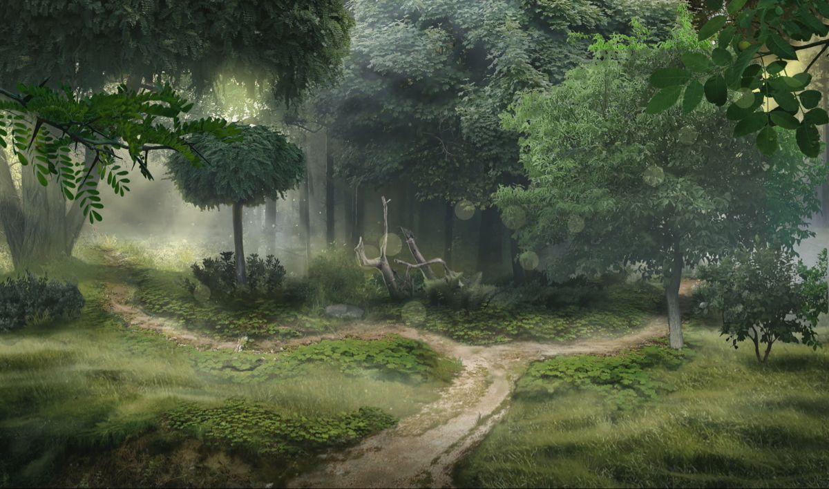 Красивый аниме фон лес 25