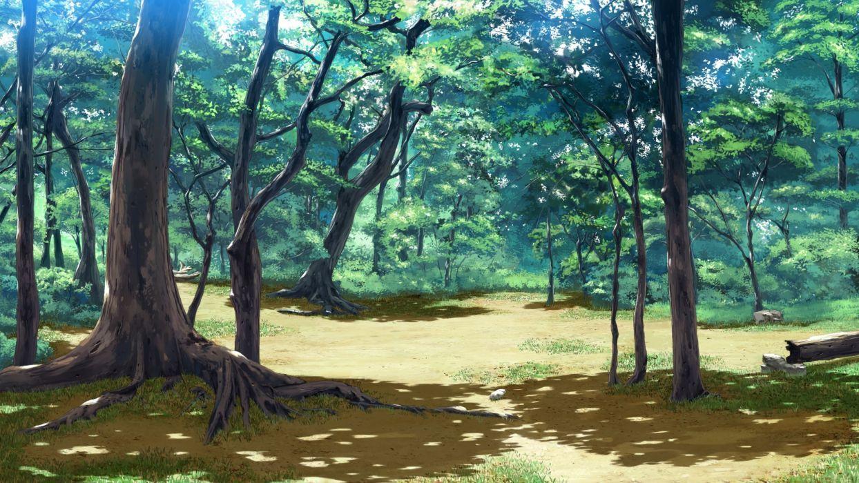 Красивый аниме фон лес 26