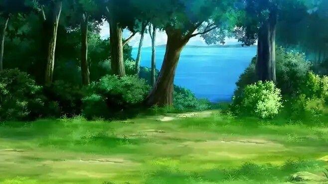 Красивый аниме фон лес 27