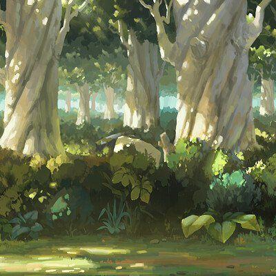Красивый аниме фон лес 3