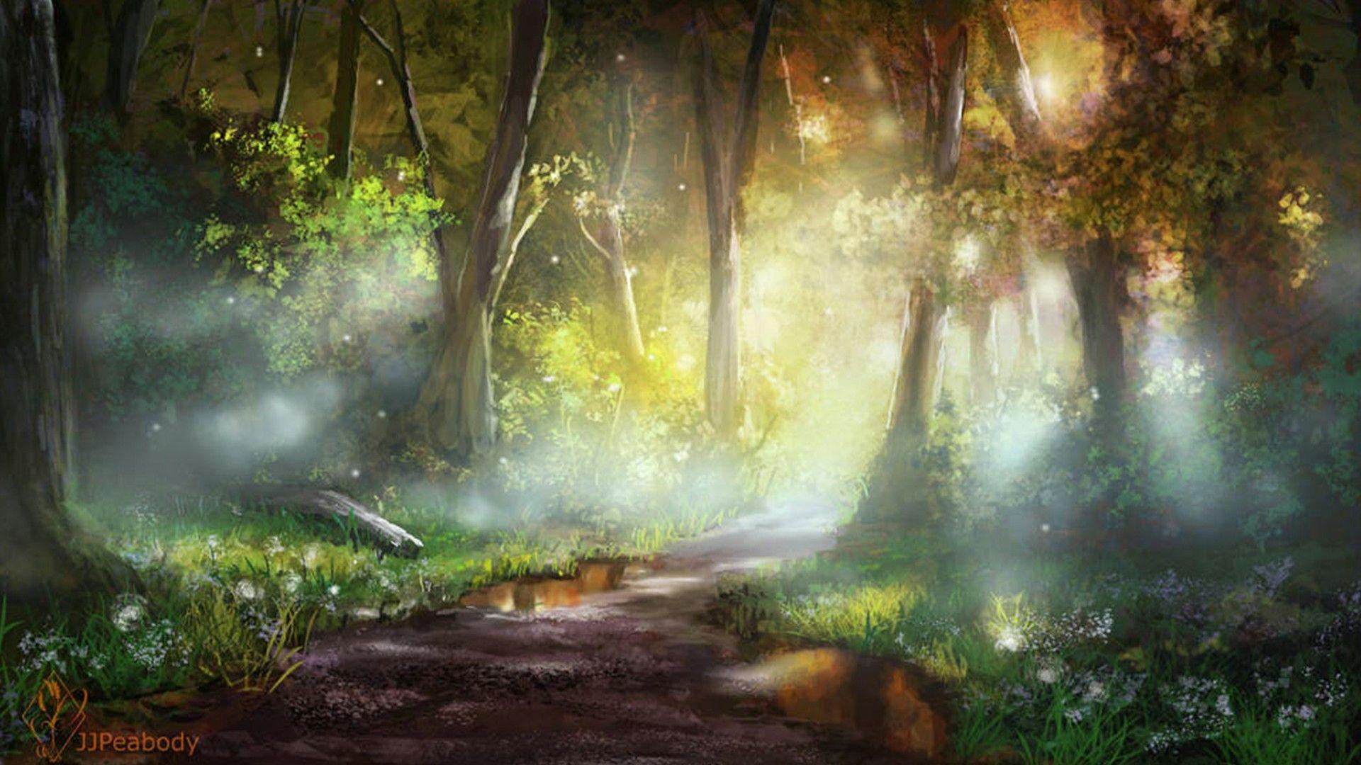 Красивый аниме фон лес 31