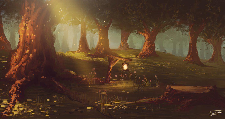 Красивый аниме фон лес 4