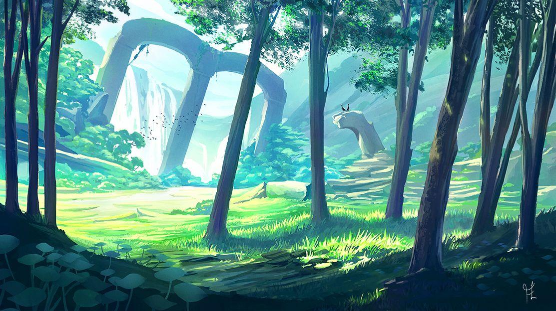 Красивый аниме фон лес 5