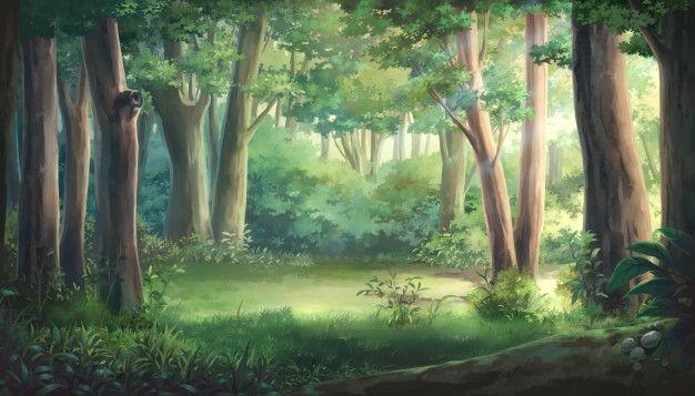 Красивый аниме фон лес 6