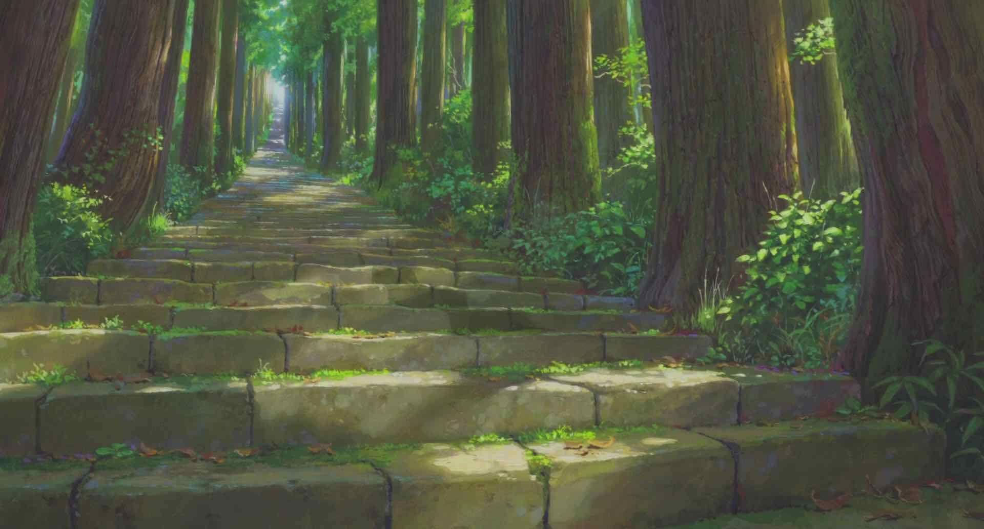 Красивый аниме фон лес 7
