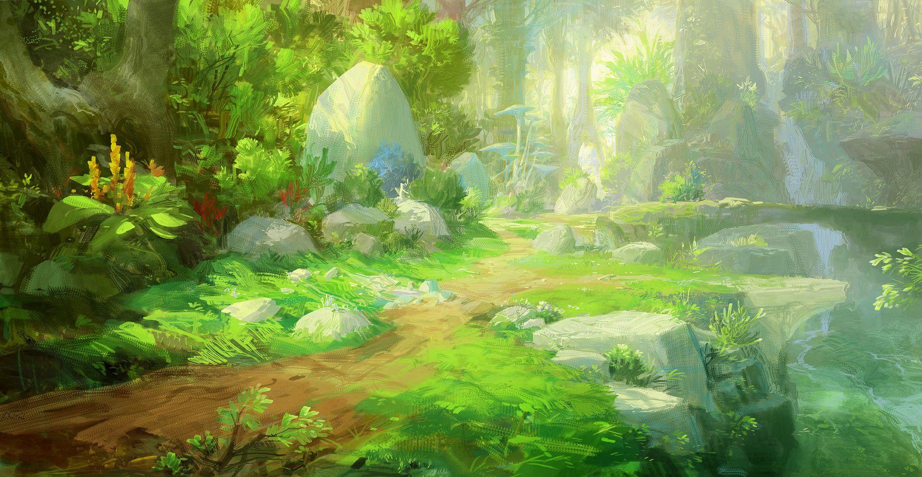 Красивый аниме фон лес 8