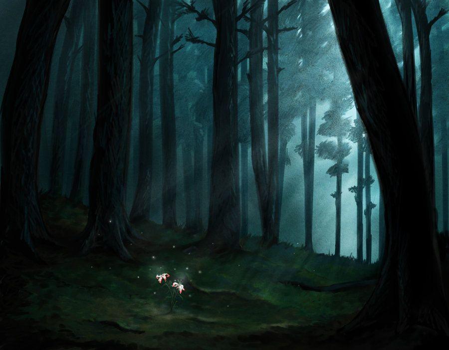 Красивый аниме фон лес 9