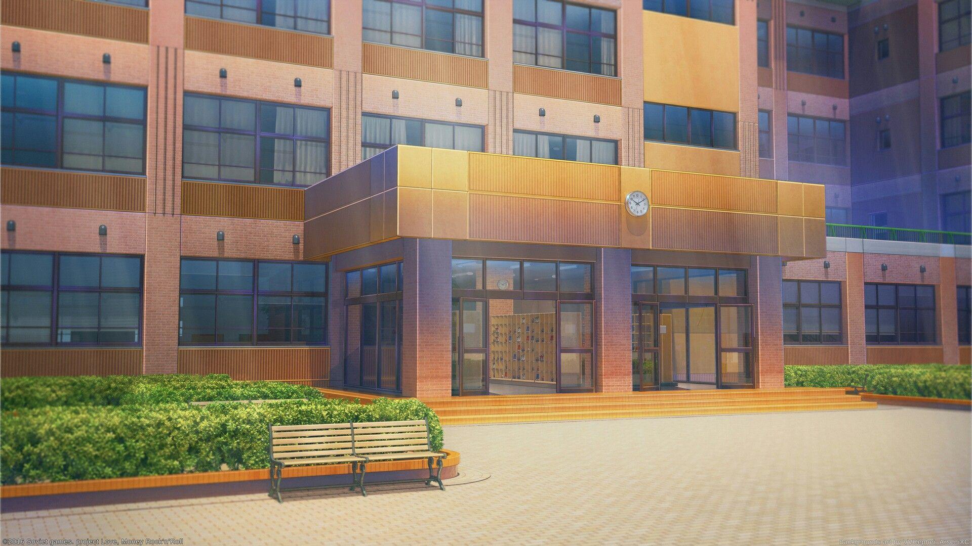 Красивый фон аниме школа 30