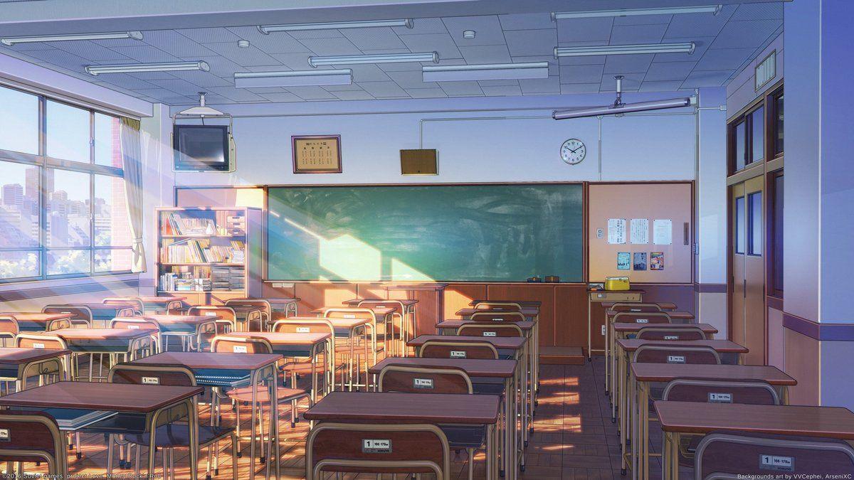 Красивый фон аниме школа 37