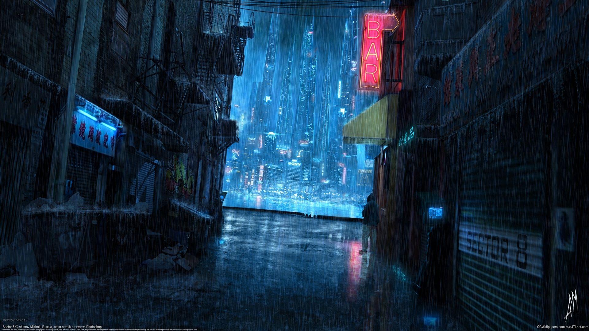 Красивый фон аниме улица ночь 1