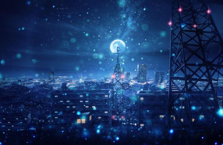 Красивый фон аниме улица ночь 13