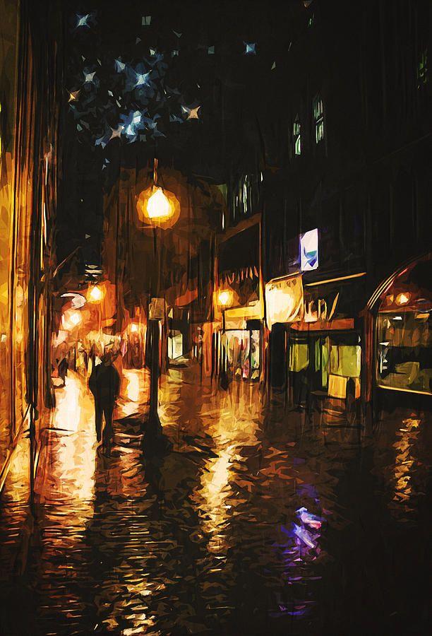 Красивый фон аниме улица ночь 14