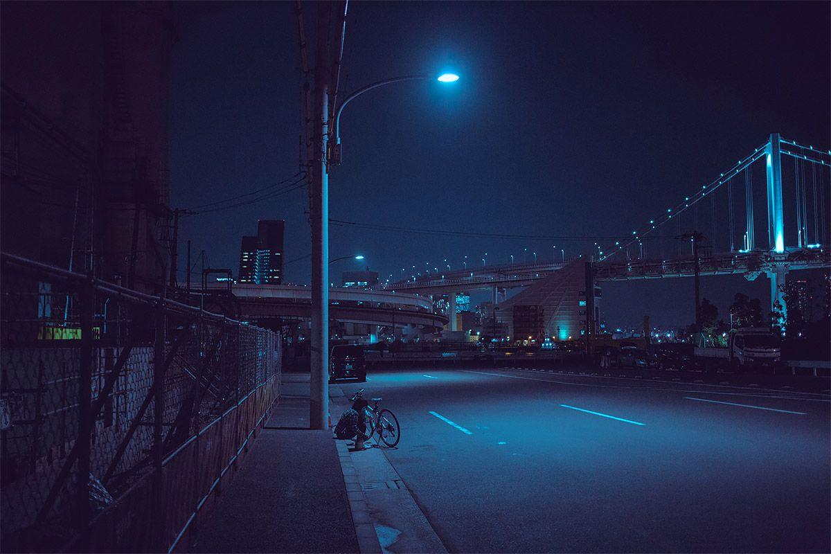 Красивый фон аниме улица ночь 20