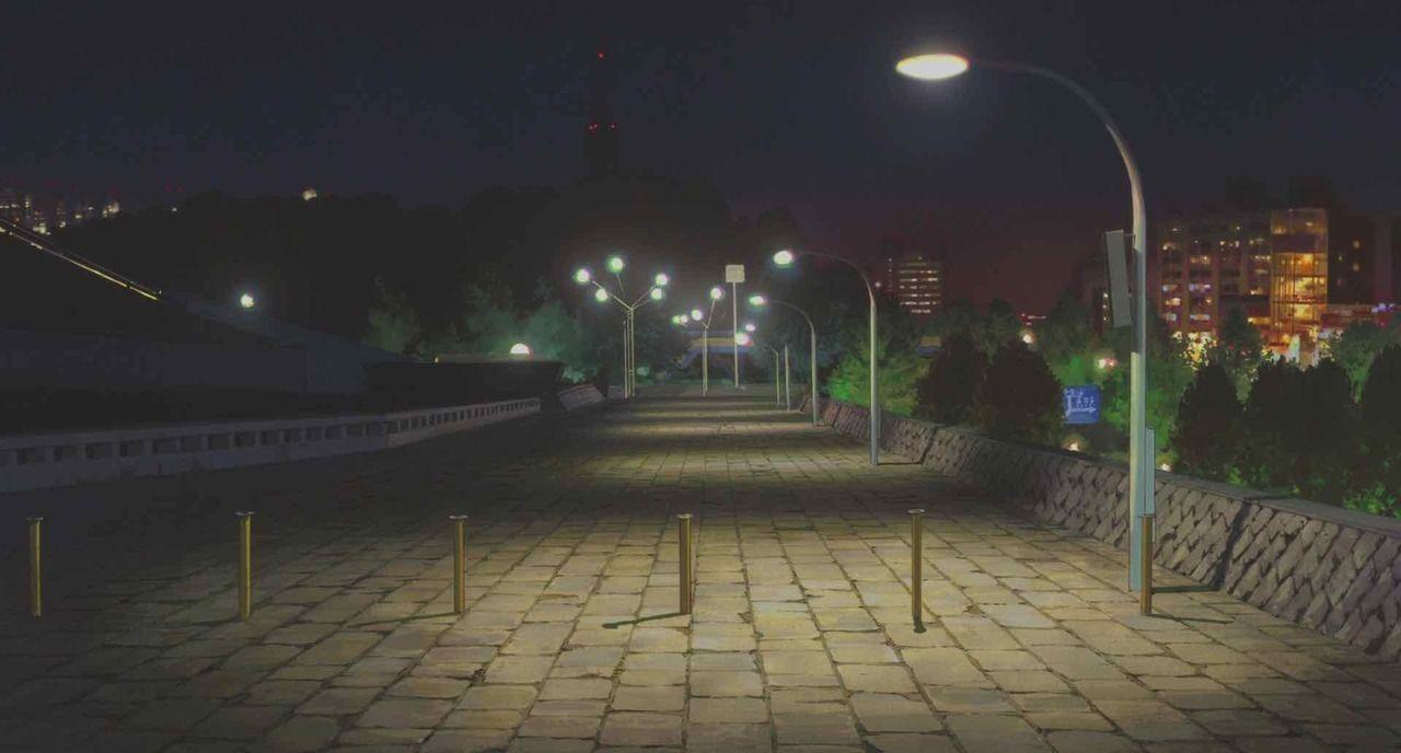 Красивый фон аниме улица ночь 21