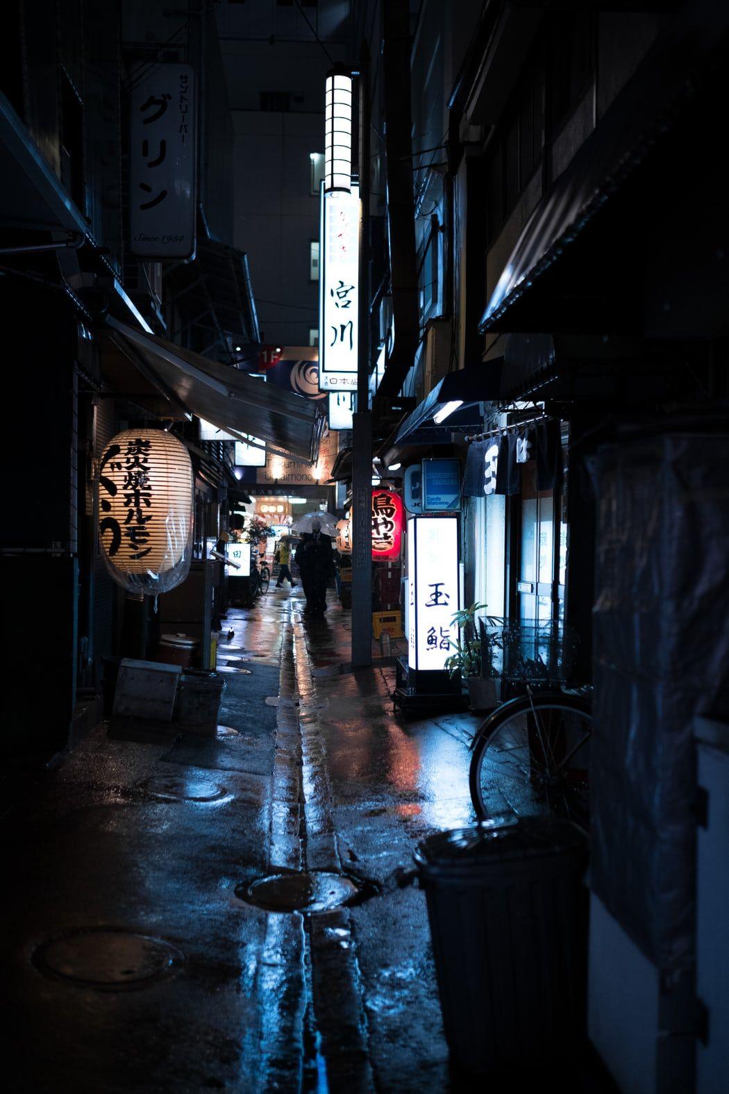 Красивый фон аниме улица ночь 22