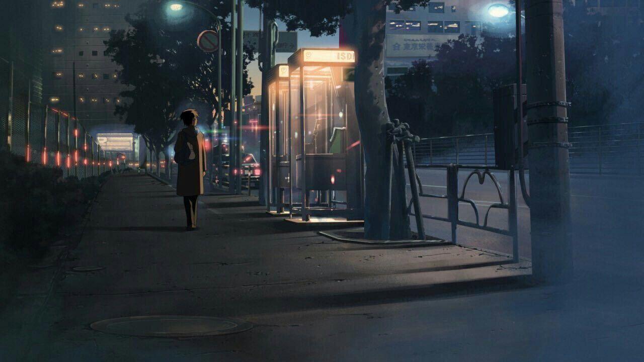 Красивый фон аниме улица ночь 23