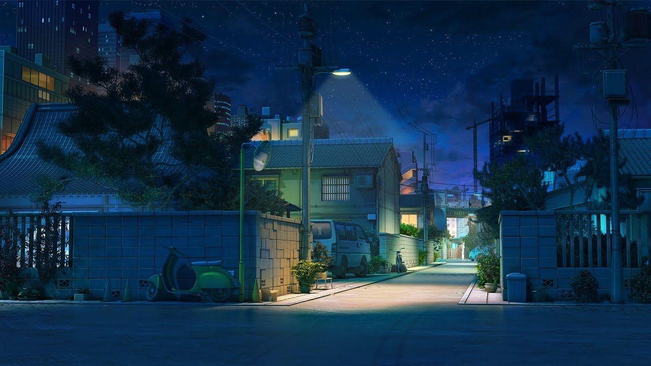 Красивый фон аниме улица ночь 24