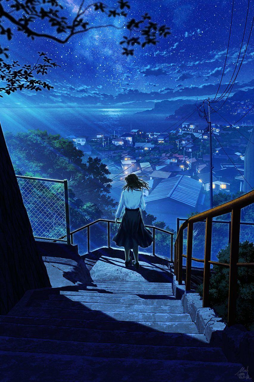 Красивый фон аниме улица ночь 25