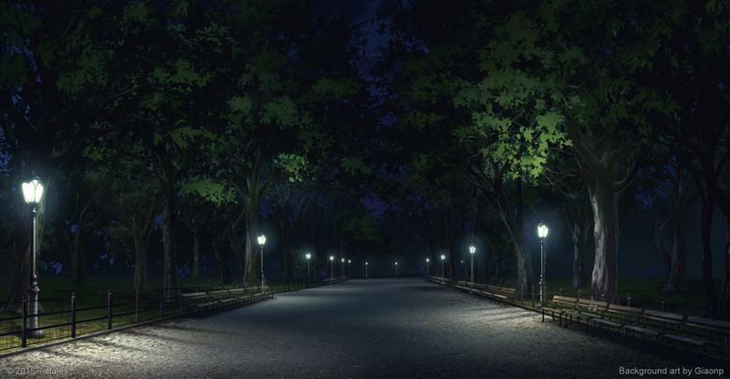Красивый фон аниме улица ночь 26