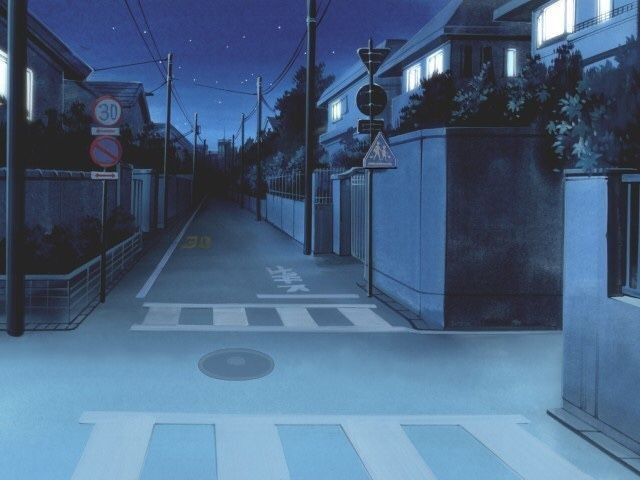 Красивый фон аниме улица ночь 27