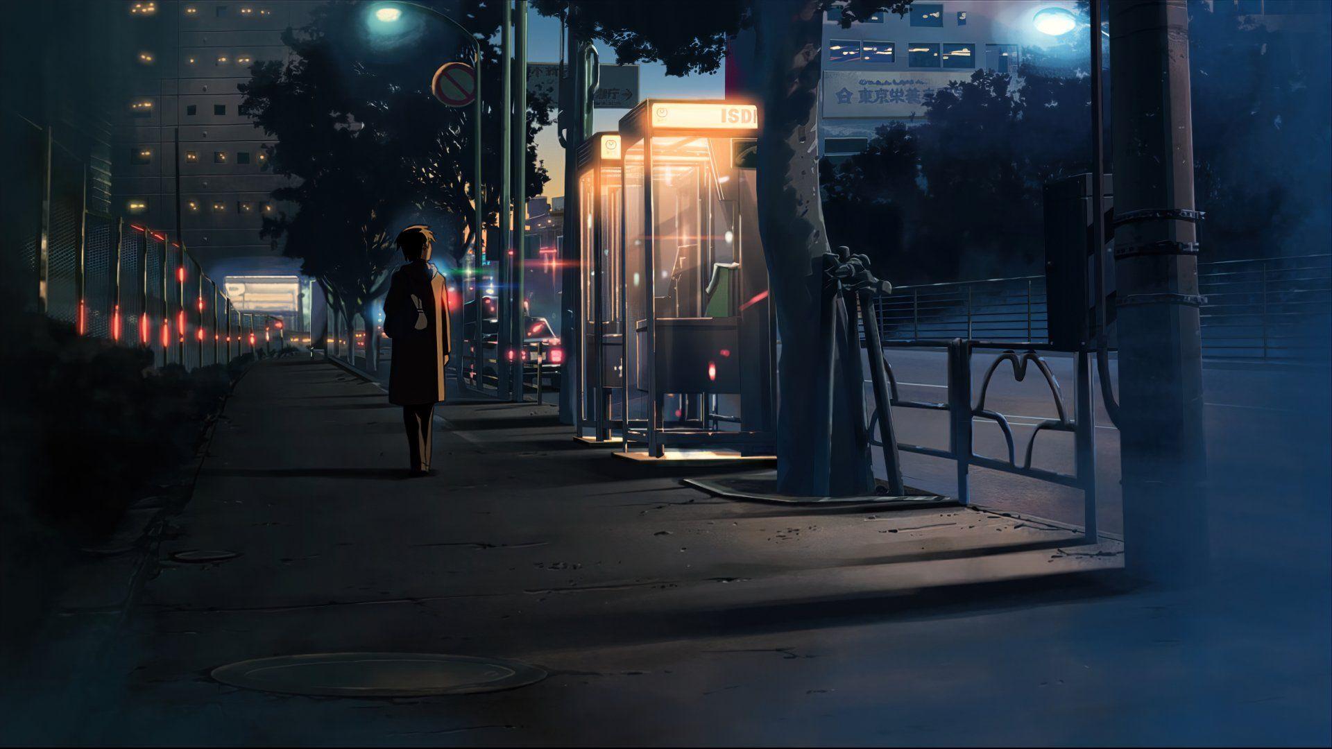 Красивый фон аниме улица ночь 28
