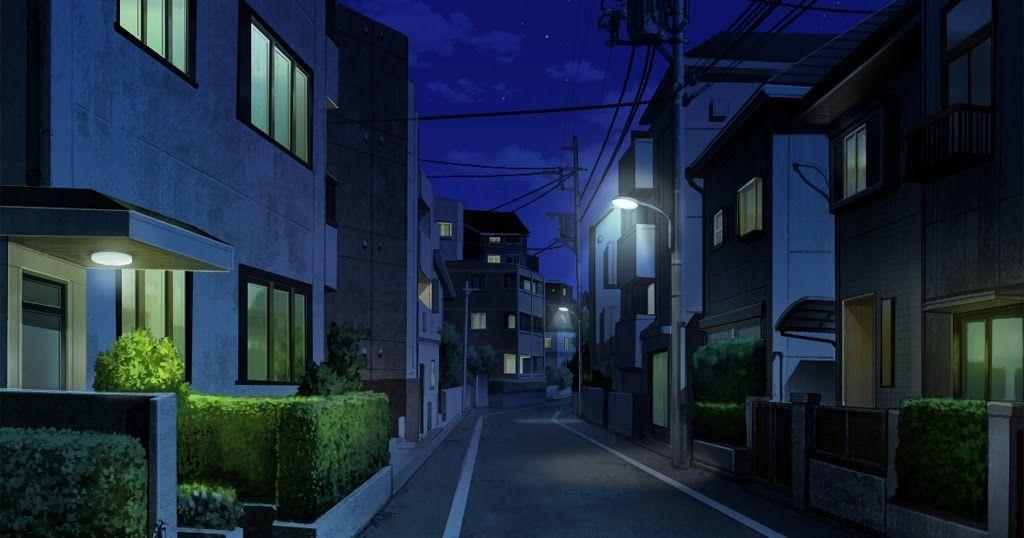 Красивый фон аниме улица ночь 3