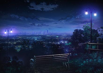 Красивый фон аниме улица ночь 31