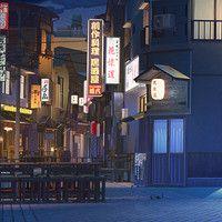 Красивый фон аниме улица ночь 4