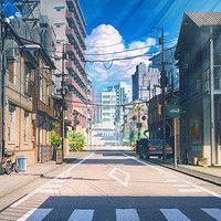 Красивый фон аниме улица ночь 5