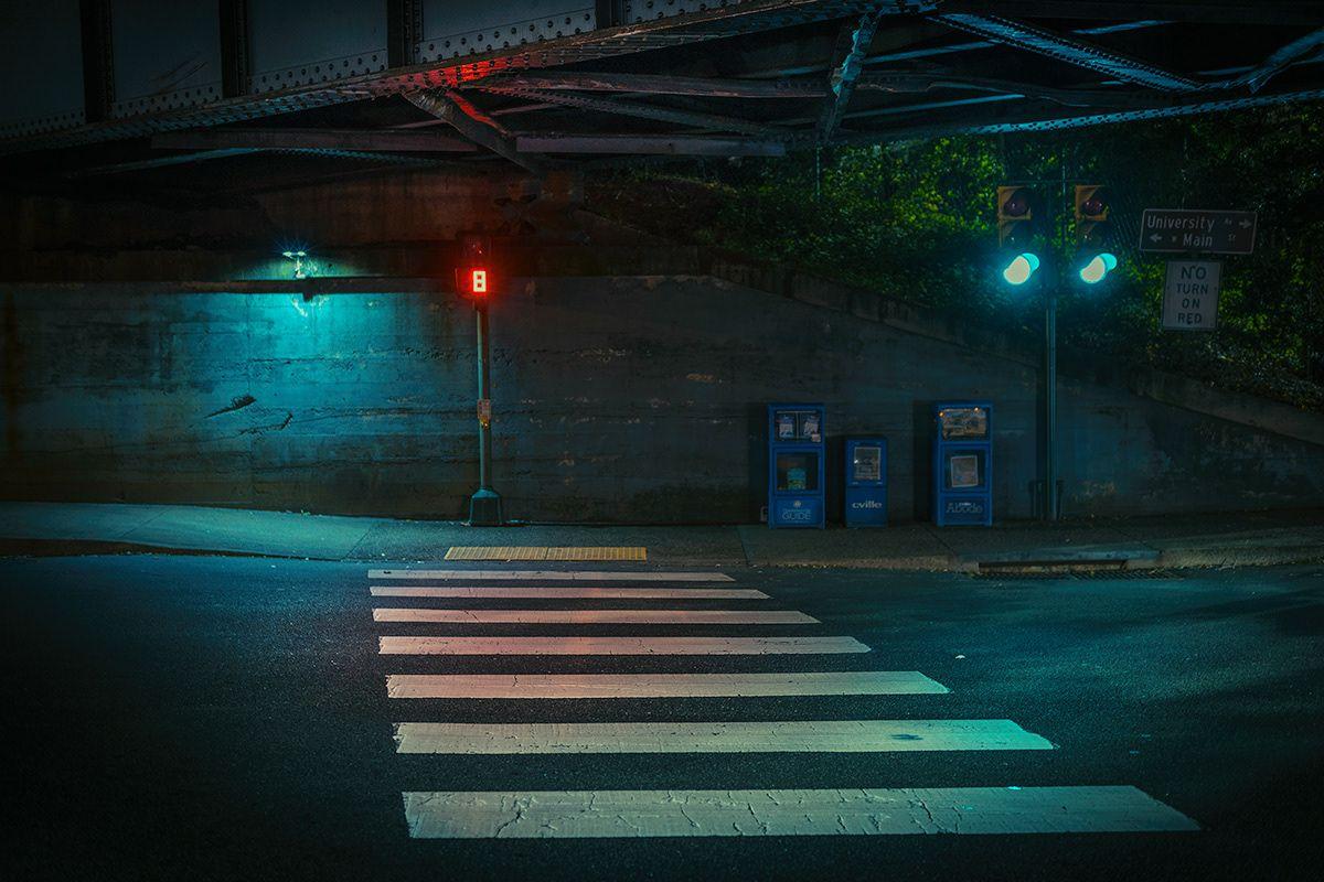 Красивый фон аниме улица ночь 6
