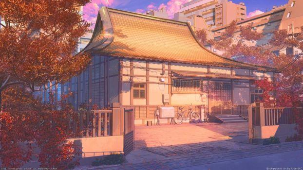 Красивый фон аниме улица ночь 8