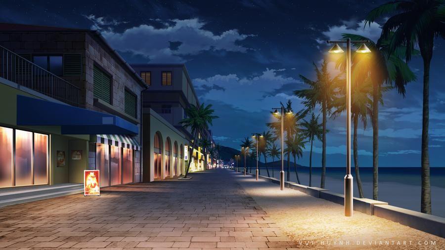 Красивый фон аниме улица ночь 9