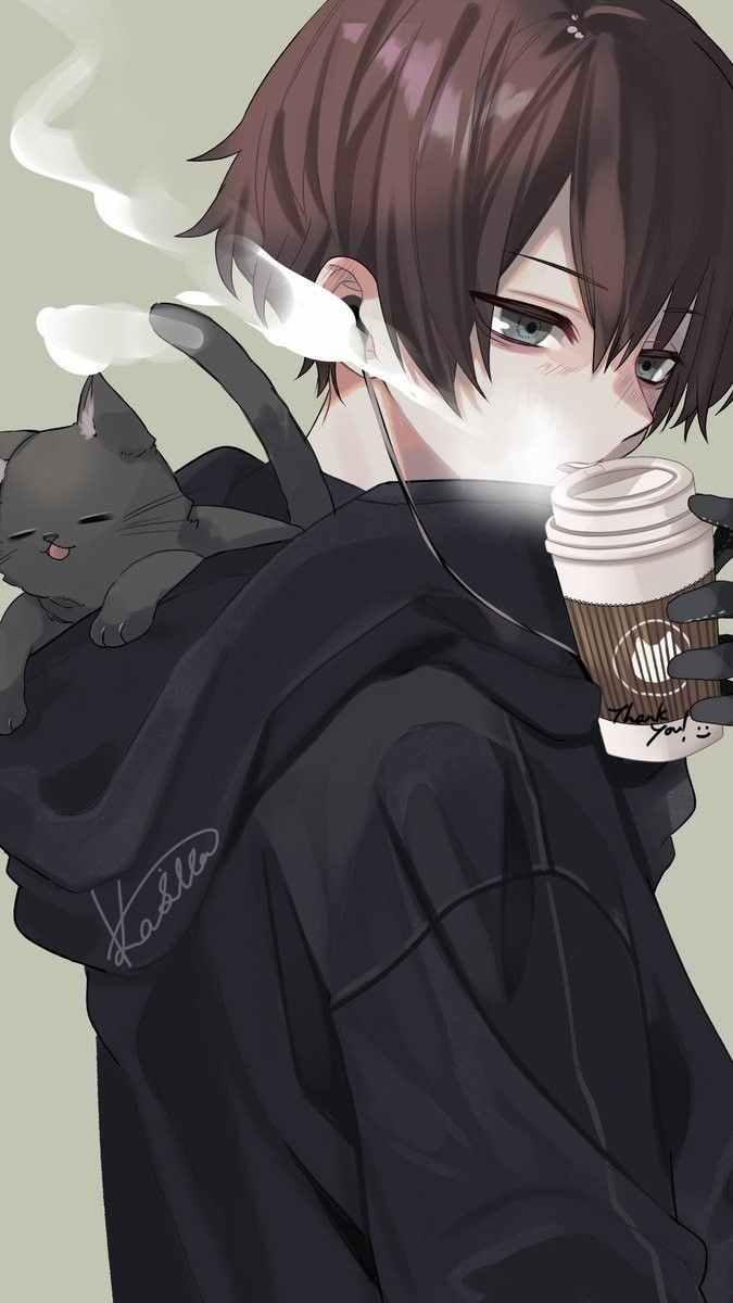 Крутые черные картинки аниме на аву 03