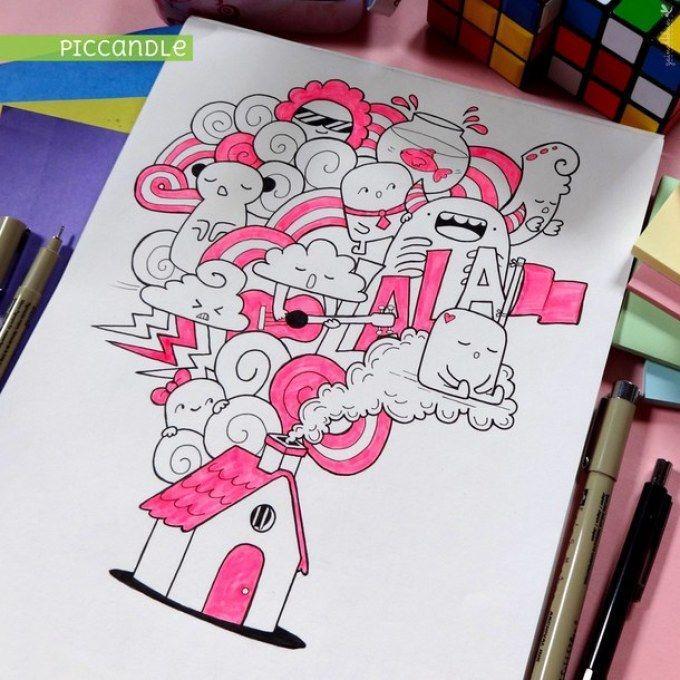 Легкие рисунки каракули для срисовки 18