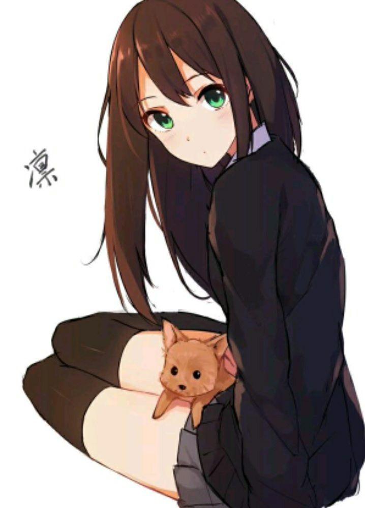 Милые аниме девушки с коричневыми волосами 31