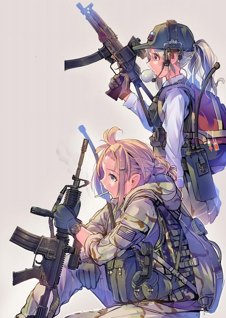 Скачать аниме арты тян с оружием девушки 15