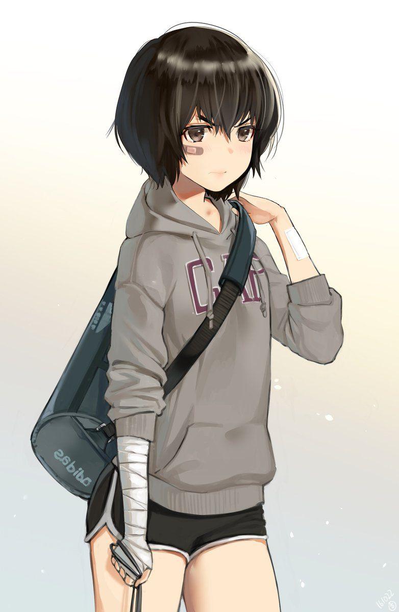 Яркие аниме девушки с короткими волосами 19