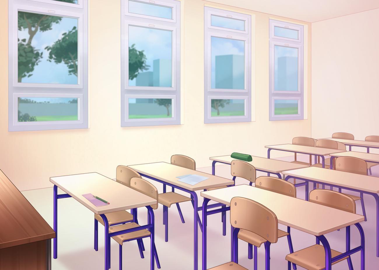 Яркий фон коридора школы аниме 1