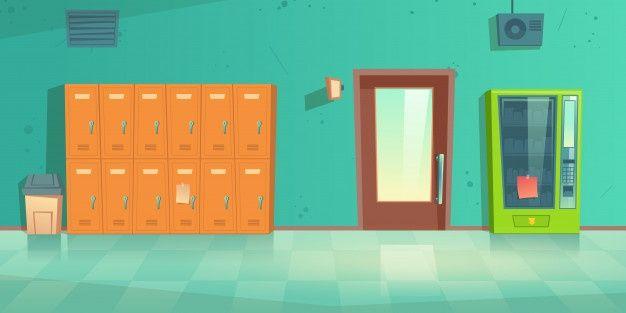 Яркий фон коридора школы аниме 10