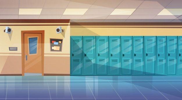 Яркий фон коридора школы аниме 11
