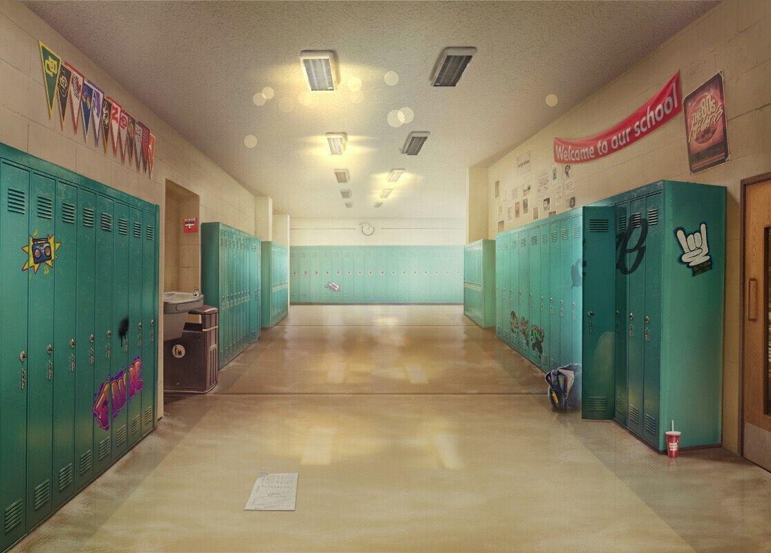 Яркий фон коридора школы аниме 13