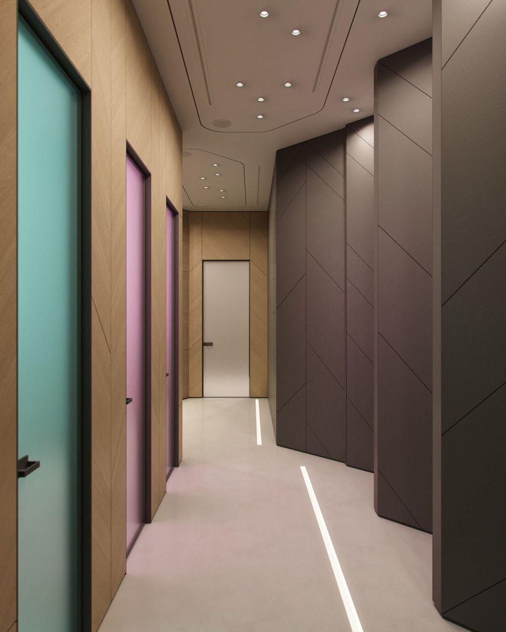 Яркий фон коридора школы аниме 18