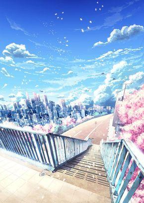 Яркий фон коридора школы аниме 20
