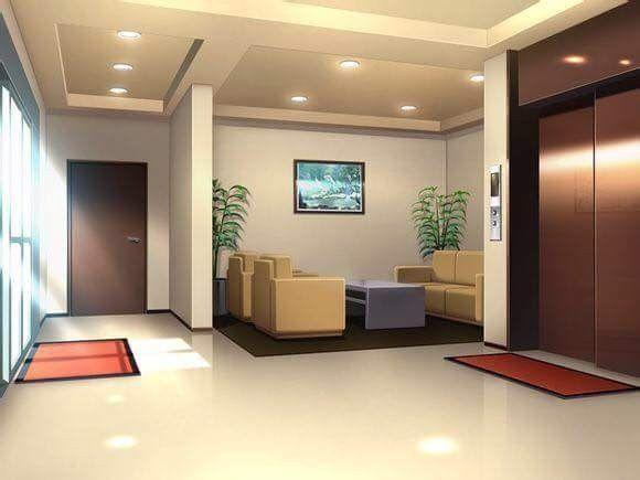 Яркий фон коридора школы аниме 26