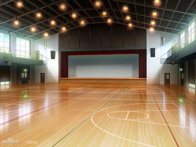 Яркий фон коридора школы аниме 27