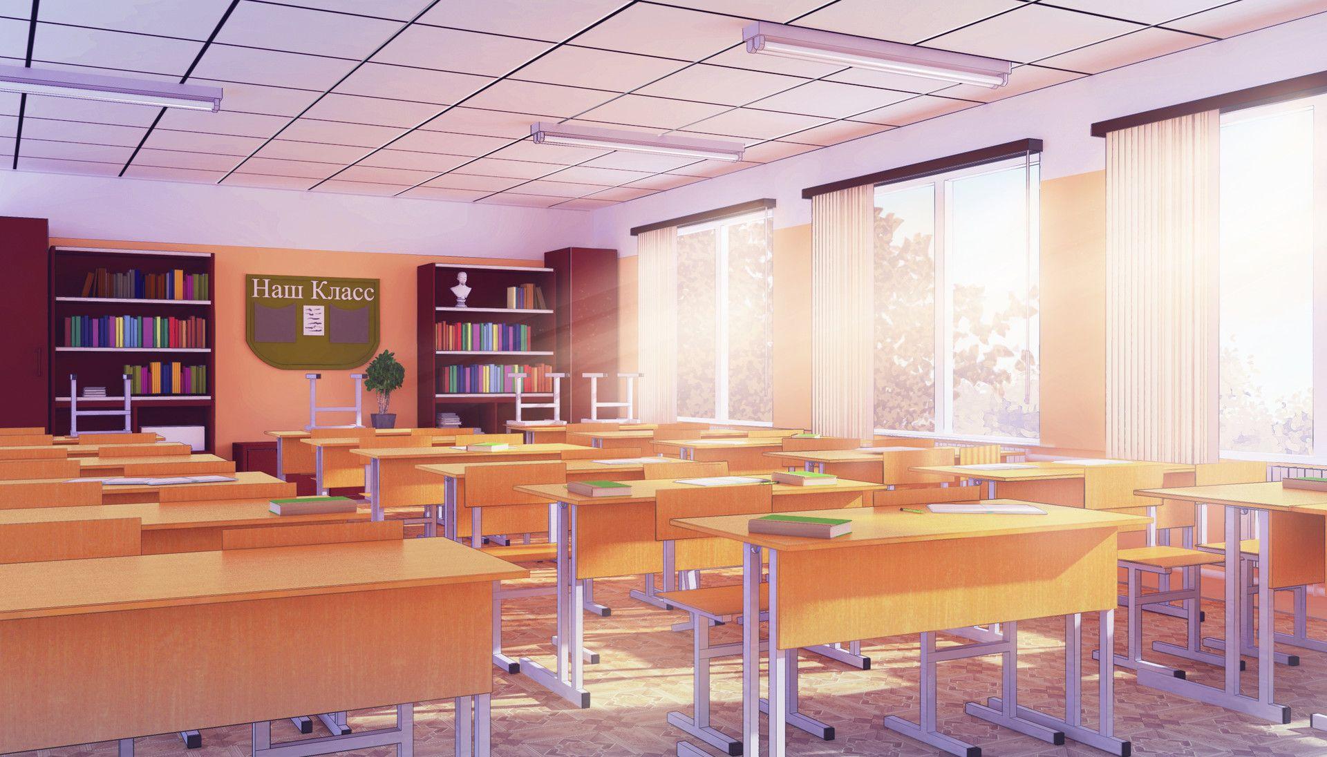 Яркий фон коридора школы аниме 3