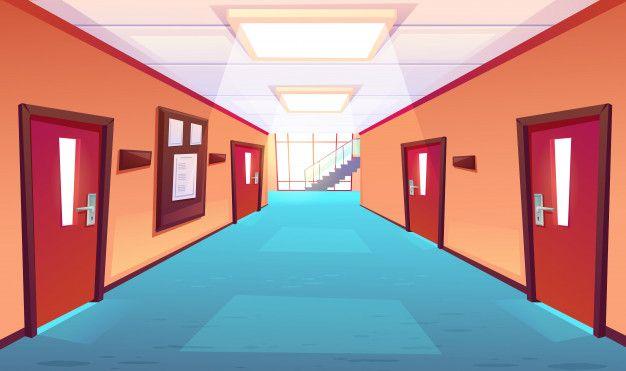 Яркий фон коридора школы аниме 9