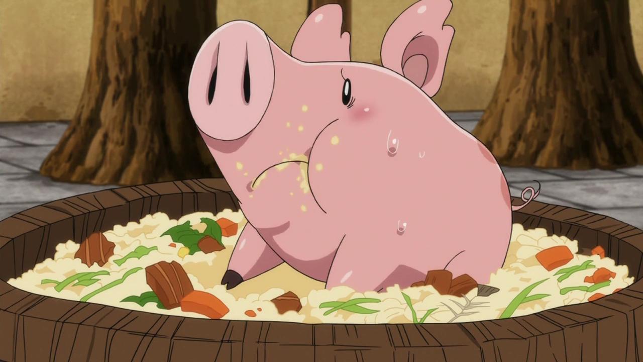 свинка в миске с едой