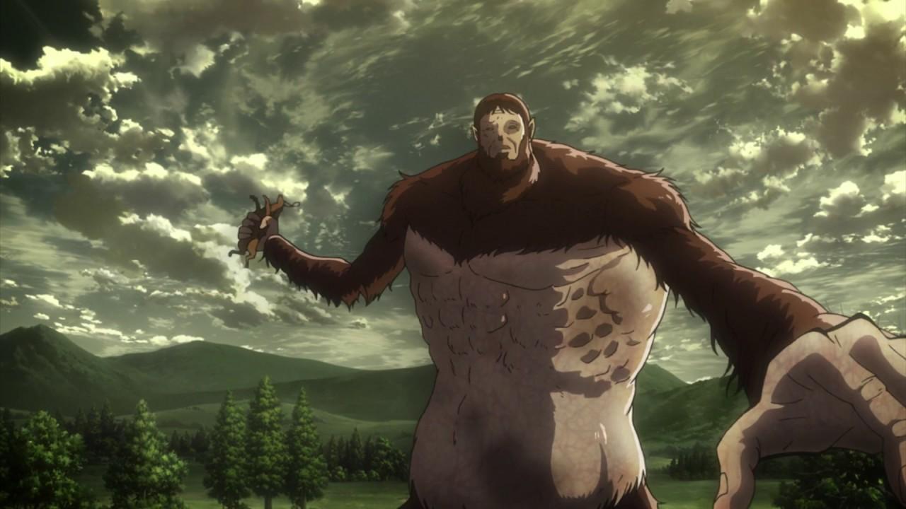 Чудовищный титан замахивается лешадью, держа её в руке