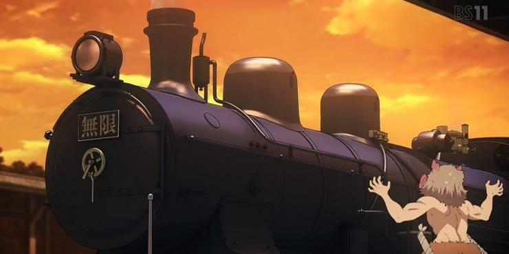 Иноске дал спойлер в начале фильма Убийца демонов: Бесконечный поезд